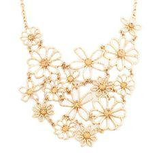 Women's #Fashion #Jewelry: Krystalin Flora Gold #Flower Statement #Necklace: Necklaces