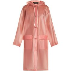 Burberry Long-sleeved frosted hooded coat ($1,556) ❤ liked on Polyvore featuring outerwear, coats, burberry, pink, burberry raincoat, plastic raincoat, red trenchcoat, plastic rain coat and red trench coat #RaincoatsForWomenLongSleeve