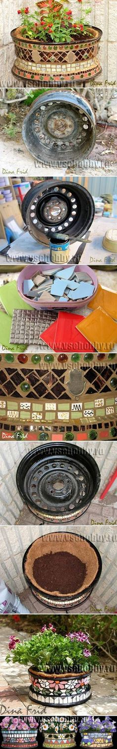 DIY Old Wheel Mosaic Flower Pothttp://pinterest.com/pin/119275090109062670/