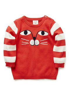 Mainly because I love cats 100% Cotton Jumper. Fully fashioned knit with striped long sleeves. Features intarsia knit of cat face on front. Crew neck, with 3 button opening on left shoulder. Available in Chilli.