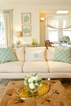 House of Turquoise: Bella Interiors - love the monogram pillow for the family room