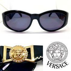 9b620b81c7 Gianni Versace   Mod.424 C RH Col.852 BK   Black Gold Vintage Sunglasses  Stone  affilink  vintagesunglasses  vintage