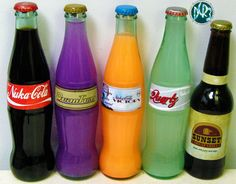 [link] Soda from Fallout 3 and New Vegas. See them glowing here [link] See my new version of Nuka Cola Quartz here [link] My Mentats & Fixer link: [. Fallout 3 and New Vegas Soda Fallout Props, Fallout Cosplay, Fallout Game, Fallout Posters, Geek Games, Fun Games, Fallout 3 New Vegas, Life Hacks, World On Fire