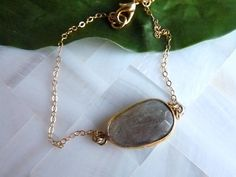 Labradorite Gold Bezel Connector Gold Chain by JeweltoneJewelry, $36.00
