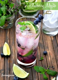 Celebrate National Mojito Day with a Blueberry Mojito recipe - this is a great drink for those hot days to cool off!