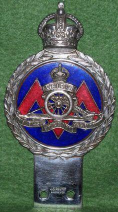 Rare-Royal-Artillery-Car-Bar-Badge-J-R-Gaunt-Enamelled-Excellent-Condition