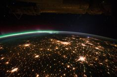 Lightning and Aurora Borealis as Seen from ISS