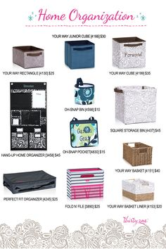 A closer look at home organization with Thirty-One. Your Way Rectangle, Your way junior cube, your way cube, hang-up home organizer, square storage bin, oh-snap bin, oh-snap pocket, perfect fit organizer, fold n' file, your way rectangle basket #31 #thirtyone http://www.mythirtyone.com/amywilson825