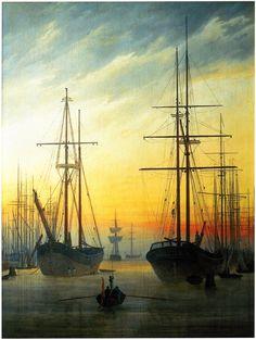 Caspar David Friedrichカスパール・ダヴィッド・フリードリヒ(1774ー1840)「Ansicht eines Hafens(ある港の眺め)」(1815-16)