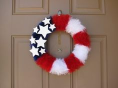 Fun Fur American Flag Wreath