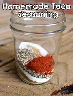 Homemade Taco Seasoning:  1 Tbsp chili powder  1/4 tsp garlic powder  1/4 tsp onion powder  1/4 tsp crushed red pepper flakes  1/4 tsp dried oregano  1/2 tsp paprika  1.5 tsp ground cumin  1/2 to 1 tsp sea salt (more or less to taste)  1 tsp black pepper  *Add 2 to 3 tablespoons of this mixture plus 1/2 to 3/4 cup of water to one pound of cooked meat (of your choice).