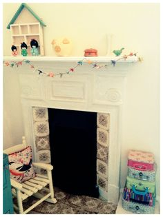 Painted cast iron Victorian fireplace