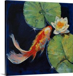 Michael Creese Premium Thick-Wrap Canvas Wall Art Print entitled Koi and White Water Lily, None