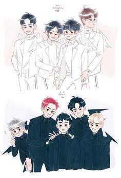 Exo Kokobop, Exo 12, Exo Chanyeol, Kpop Anime, Exo Fan Art, Vkook Fanart, Kim Minseok, Exo Memes, Cute Illustration