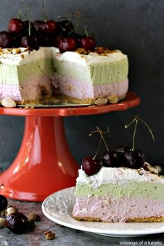 Cherry and Pistachio No Bake Cheesecake with Animal Cracker Crust