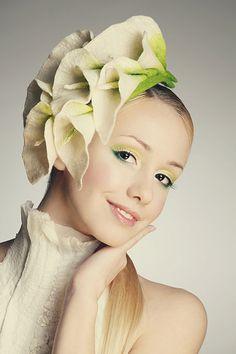 Elegant flower Calla Lily fascinator hat with merino wool, silk fibers and chiffon silk.