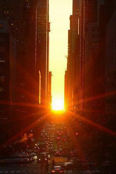 A phenomenon called the Manhattan-Henge happens twice a year, when the sun perfectly lines up with the streets of NYC.