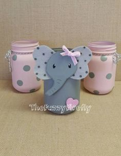 Original Design Set of Elephant Pink/Grey Mason Jar Centerpieces,Elephant Baby Shower Decor,Cute Elephant Room Decor,Elephant Party Awesome DIY hacks are offered on our internet site. Have a look and you wont be sorry you did. Excellent DIY tips are readi Idee Baby Shower, Fiesta Baby Shower, Baby Shower Parties, Baby Shower Themes, Baby Boy Shower, Baby Shower Gifts, Shower Ideas, Elephant Baby Shower Centerpieces, Elephant Decorations