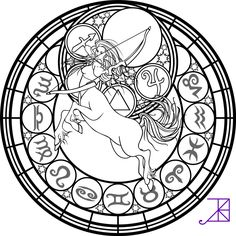 Zodiac Sagittarius Stained Glass Coloring Page by Akili-Amethyst.deviantart.com on @deviantART