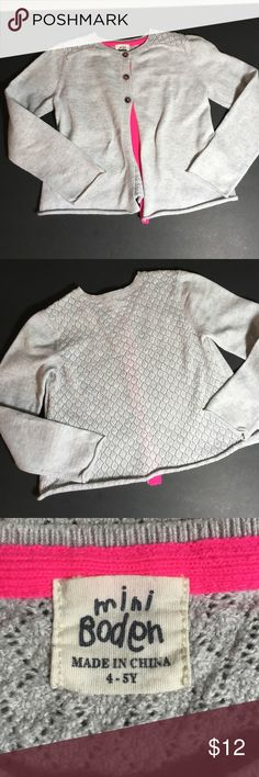 mini Boden sweater 4-5Y Cute grey sweater with hot pink trim and crochet back 4-5Y cotton/Cashmere blend gently worn Mini Boden Shirts & Tops Sweaters