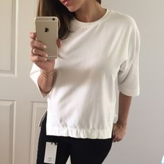 """The Perfect Ivory Over Sized Top • Item Information:   • Modeling: Small  • Measures: • Sizes available:  • Use the """"Buy It Now"""" feature or request your size to make a bundle Tops Tees - Short Sleeve"""