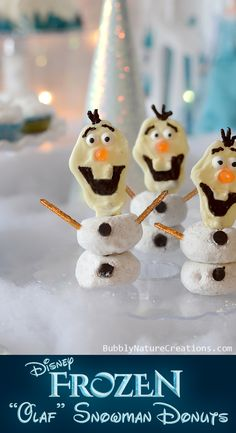 Disney FROZEN Olaf Snowman Donuts!  So cute for a FROZEN party! @Sara Eriksson Eriksson Beringer Events