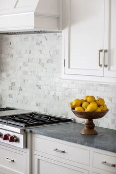"Calacatta Gold Tile Backsplash. Calacatta Gold Backsplash. The backsplash is 2""x4"" Calacatta Gold Honed. #CalacattaGold #Backsplash #Tile Connecticut Stone."