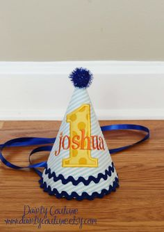 Boys First Birthday Hat  Aqua stripes Michael by DaintyCouture, $25.00