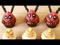 HOW TO MAKE DEADPOOL CUPCAKES - NERDY NUMMIES - YouTube. I love Ro, but I am pinning this for the actual recipe this time. Maple cupcakes sound amazing, and I might have to make these for my son's birthday... different decoration (although these are awesome!)