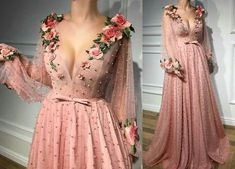 Long Prom Dresses V-neck A line Beading Embroidery Tulle Prom Dress JKL729