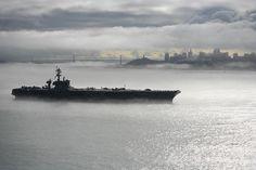 The Nimitz-class aircraft carrier USS Carl Vinson (CVN 70) departs San Francisco by Official U.S. Navy Imagery