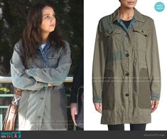 Jo's green patchwork utility jacket on Greys Anatomy Grey's Anatomy Clothes, Greys Anatomy Set, Camilla Luddington, Themed Outfits, Utility Jacket, Military Jacket, Raincoat, Fashion Outfits, Green