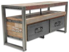 """THE SHIPYARD"" Small Industrial TV Plasma Unit - Ashanti Furniture and Design"