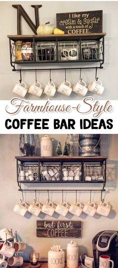 Coffee Bar Ideas - Farmhouse-Style Kitchen Coffee Bars - #coffeebarideas #kitchenideas #farmhousekitchen #kitchendecor #kitchendecorideas #farmhousestyle #homedecorideas #diy #diykitchenideas #diyroomdecor