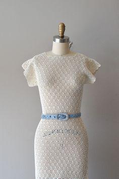 crochet dress / 1930s dress / 30s knit dress / by DearGolden