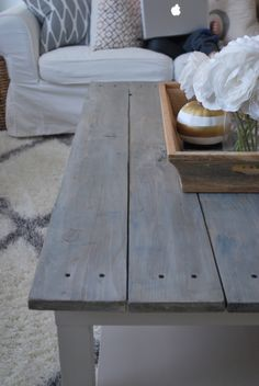 IKEA coffee table hack. Coffee table makeover tutorial painttheworldwhite.com