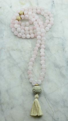 Rose Mala Necklace  Rose Quartz Mala Beads and by SaltSpringMalas, $70.00