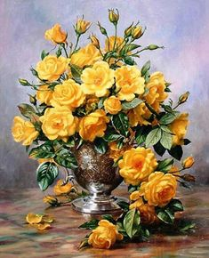 Bright Smile - Roses in a Silver Vase Art Painting for sale. Shop your favorite Albert Williams Bright Smile - Roses in a Silver Vase Art Painting without breaking your banks. Art Floral, Diy Painting, Painting Prints, Painting Flowers, Floor Painting, Painting Abstract, Art Prints, Gif Rose, Plant Drawing