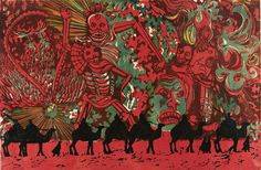 """""""Across The Gobi - Marco Polo"""", 1971, Anita Margrill, American (b. 1937), linocut on paper, 15 7/8 x 23 in. Museum purchase with funds from the Benefactors Fund, 1973. 1973.1903"""