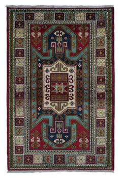 Design Kazak Size 4'X6'2 Shades Of Color Included: Red, Blue, Beige - Multi-Colored Knot Technique 100% Hand Knotted Rug Foundation Cotton Pile 100% Fine Wool Retail Price $2,000 - $2,500 Condition Ne