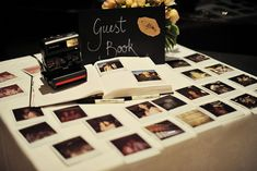 Polaroid Guest Book Technically, it is still a guest book but you can add a personal touch by asking your guests to take a picture of themselves and pasting it next to their message!