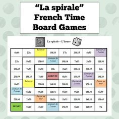 Two board games for practicing saying the time in French - one with the times on a clock, and one with the times on a clock. Includes a list of useful expressions to keep students speaking French throughout the entire game! French Teaching Resources, Teaching Time, Teaching French, Teaching Ideas, How To Speak French, Learn French, Learn Cantonese, French Numbers, French For Beginners
