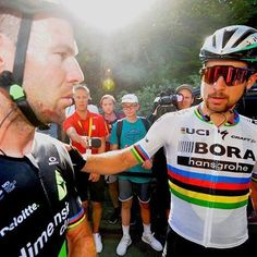 A moment. Sincere concern from the World Champion to Mark Cavendish after Stage 4 finish TDF2017 by veloimages
