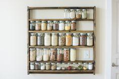 Mason Jar Pantry Shelf Organizer, Kitchen Storage Shelves for Whole Food Ingredients, Adjustable Wood Shelf