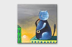 Cat painting on canvas - Art Cat portrait - Acrylic painting - Kitchen art - Coffee painting - Funny cat art - Coffee art kitchen - Hand painted artwork