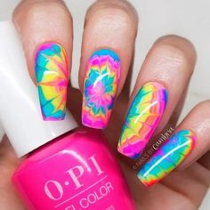 Tie-Dye Nails are might nineties fashion but are still drool-worthy summer staples of the modern era. Explore the magnificent and easy tie-dye nails today. Summer Acrylic Nails, Best Acrylic Nails, Acrylic Nail Designs, Bright Nail Designs, Rainbow Nail Art Designs, Coffin Nails Designs Summer, Unicorn Nails Designs, Neon Nails, Rainbow Nails