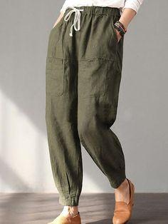 Hot Cotton Solid Pockets Vintage Linen Plus Size Casual Pants Comfy Pants, Casual Pants, Casual Dresses, Summer Dresses, Pants For Women, Clothes For Women, Plus Size Pants, Plus Size Casual, Cotton Pants