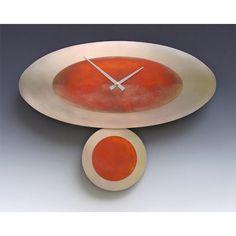 Leonie Lacouette Stand Alone Oval Steel Pendulum Clock, Artistic Artisan Designer Clocks