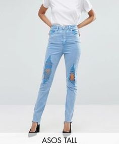 Jeans For Tall Women With Super Model Legs - Pretty Long Jeans For Tall Women, Slim Mom Jeans, Tall Jeans, Love Jeans, Women's Jeans, High Waisted Distressed Jeans, Blue Ripped Jeans, High Waist Jeans, Skinny Jeans