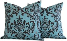 Teal Blue and Brown Throw Pillow Cover 18x18 Reversible, Decorative -…